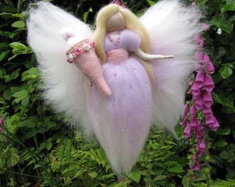 SARA, School-start fairy, birthday fairy, present bringer, Waldorf inspired needle felted doll,