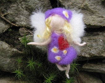 Purple - Needle Felted Wool  fairy girl from the rainbow collection , Flower fairy, Waldorf inspired fairy doll, wool