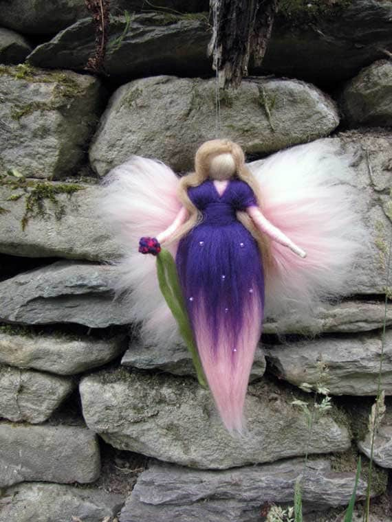 Violetta,  Needle Felted Wool fairy, Nature fairy, Waldorf inspired fairy doll