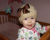 SALE - SALE - SALE - Chunky Tan Colored Crochet Hat with bow