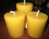 Natural Beeswax Votive Candles Set of 3 Pure Beeswax Pure bees wax Candles