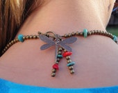 Brass Beads Dragonfly Turquoise Coral Necklace and Earring Set