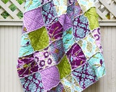 20% Off Summer Sale, Aviary 2 in 'Lilac' Throw Sized Rag Quilt