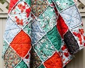 Red and Teal and Black Poppies Gallery Large Throw Rag Quilt, READY to ship