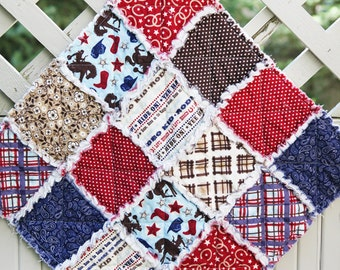 SALE 50% Off, Wanna Be A Cowboy Rag Quilt Lovey, Ready to Ship