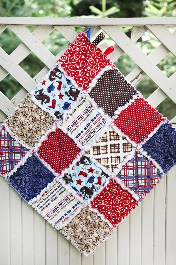 SALE 20% Off, Wanna Be A Cowboy Rag Quilt Lovey, Ready to Ship