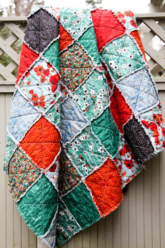 Red And Teal And Black Poppies Gallery Large Throw Rag Quilt