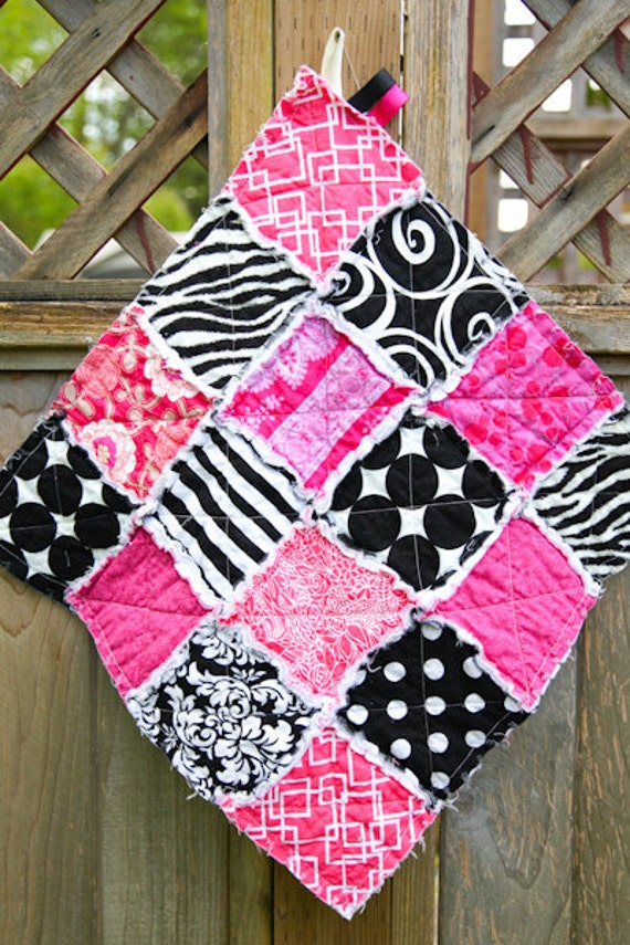 SALE 20% Off, Hot Pink and Black,  Rag Quilt Lovey, READY to Ship