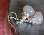 Soft Pink Rose Quartz Rhinestone Ballerina Bauble Earrings
