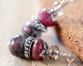 Natural Red Ruby & Thulite Sterling Silver Drop Earrings
