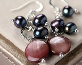 Purple Plum & Peacock Freshwater Pearl Mother of Pearl Shell Cluster Earrings