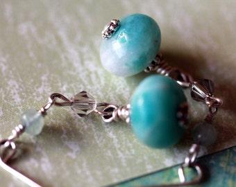 Pretty Teal Amazonite Aquamarine Swarovski Crystal Seascape Drop Earrings