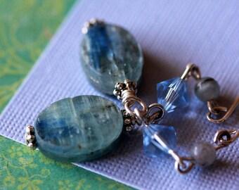 Natural Silvery Blue Kyanite Aquamarine Silver Drop Earrings