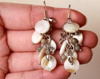 Dusty Grey Feldspar Ivory Mother of Pearl Shell Swarovski Crystal Silver Cluster Earrings