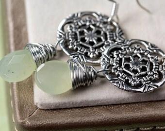 Lydia Minty Green Faceted Prehnite Silver Celtic Wheel Wire Wrap Drop Earrings