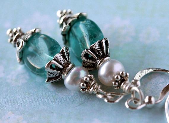 Demure Cerulean Blue Apatite Pearl Drop Earrings