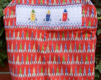 Toddler Shortall Smocked with Rockets and READY TO SHIP