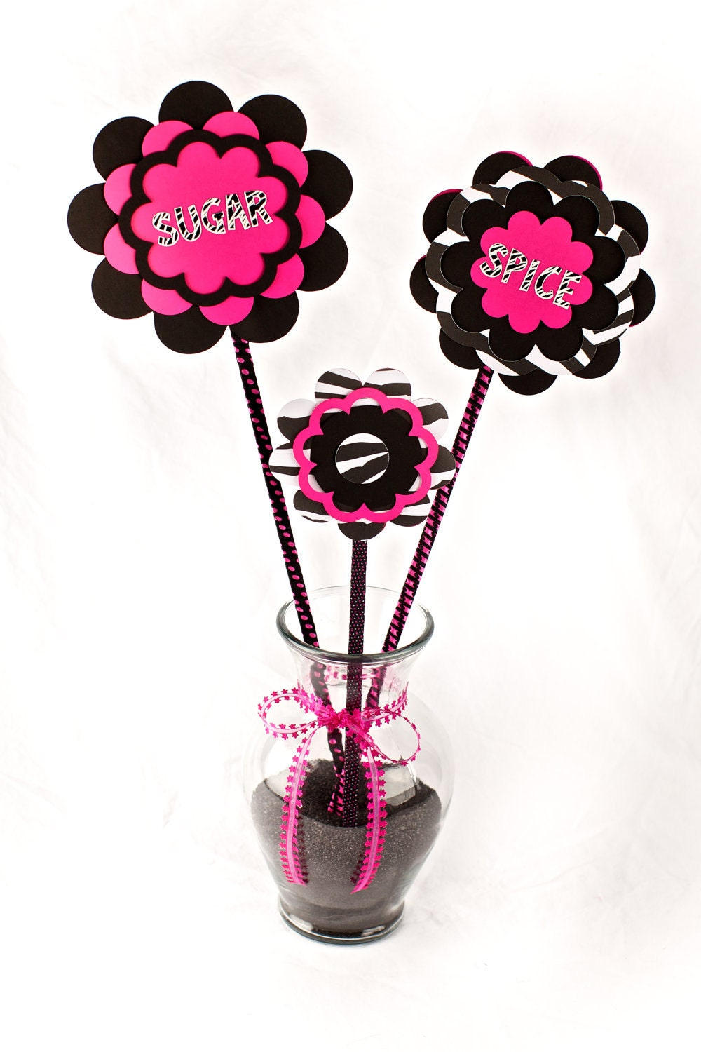 Items similar to baby shower centerpiece vase hot pink
