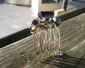 Mountain-fringe hair comb featuring Hematite