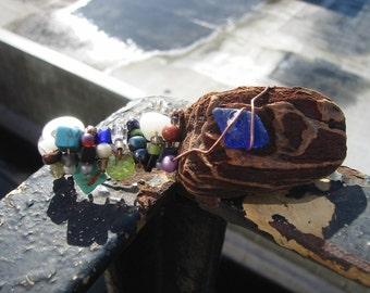 driftwood and seaglass barrette