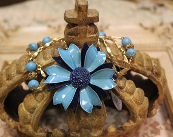 SALE Vintage Assemblage Enamel Flower Brooch Necklace One of a Kind Cadet Sassy Sisters Jewelry