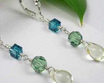 Lemon Drop Leaf Earrings - Green, Yellow, Teal Earrings, Crystals, Beads