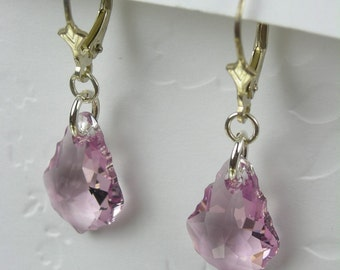 Lavendar French Baroque Crystal Earrings