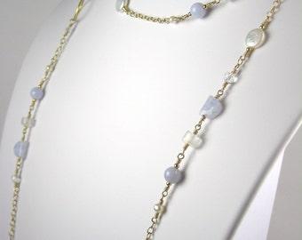 Long Blue Lace Agate Necklace