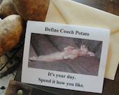 "Dachshund Birthday Card titled ""Define Couch Potato"""