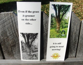 "Set of 4 - Inspirational Bookmarks, set of 4,  titled ""The Grass is Greener"""
