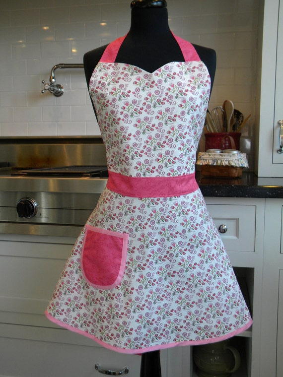 20% OFF SALE-Forget Me Not Full Sweetheart Apron