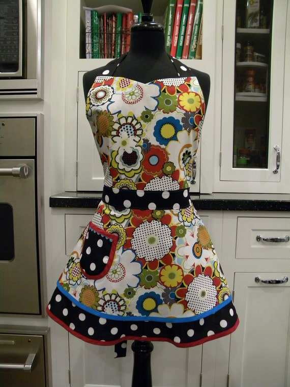 Mod Print Double Skirted Sweetheart Apron