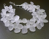 Crystal quartz necklace - natural white rock crystal gemstones, handmade jewelry, made in USA winter fashion, holiday gifts for women