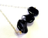 Black necklace: natural onyx, gold filled chain necklace, classic fashion accessory elegant jewelry handmade women