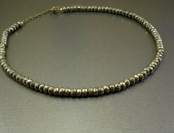Necklace for men: natural pyrite stones, short, handmade, gift for man, metallic look silvery grey, black Friday, cyber Monday
