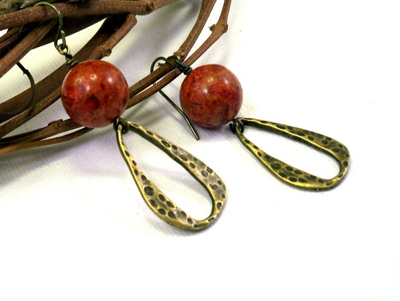 Coral earrings: red coral, bronze earrings, rustic long earrings handmade by NatureLook, winter, Christmas fashion black Friday