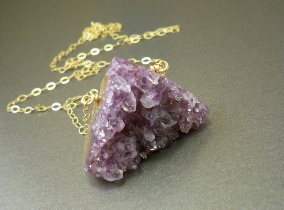 Drusy necklace - rare druzy amethyst, gold filled chain, gold necklace, handmade drusy jewellery by NatureLook, fall fashion, holiday gifts