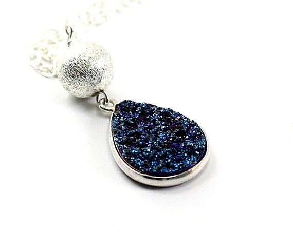 Blue druzy necklace: navy blue drusy agate stone, sterling silver chain, bold druzy handmade winter fashion holiday gifts for women