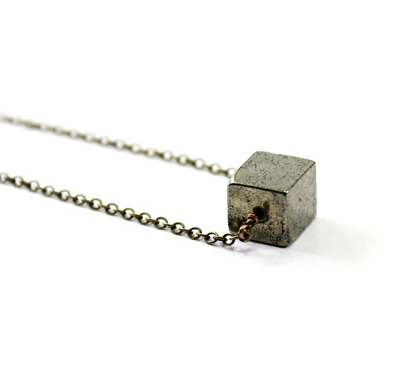 Natural stone necklace: pyrite necklace, geometric, cube necklace metallic industrial chic grey gray like steel urban