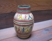 Hand painted, ceramic Moroccan vase
