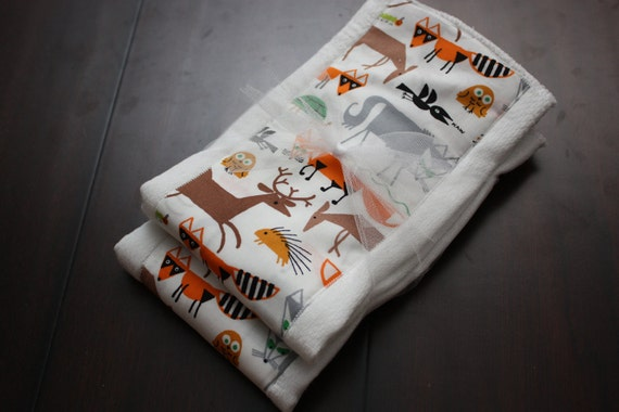 Woodland Set of 2 Burp Cloths - Organic
