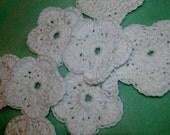 White Flower Handmade Crochet Coasters Set of 8