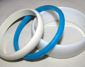 White and Turquoise Vintage Bangle Bracelets - Set of 3