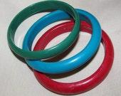 Vintage Bangle Bracelets Set of 3 - Red, Blue, Green