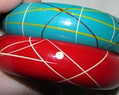 Red and Teal Vintage Bangle Bracelets