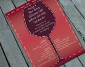 WINE TASTING or COCKTAIL Bridal Shower or Bachelorette Invitation: Digital printable file