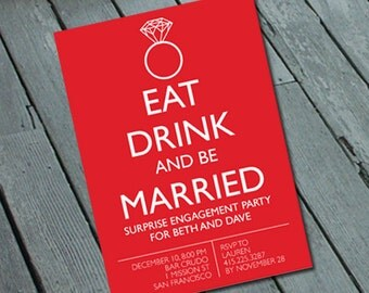 Quirky & Fun ENGAGEMENT PARTY Invitation: Digital printable file