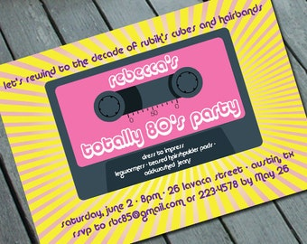 TOTALLY 80's PARTY Invitation: Digital printable file *printing available upon request*