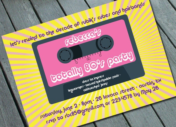 Totally 80 S Party Invitation Digital Printable File
