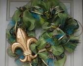 Green Fleur De Lis Mesh Wreath
